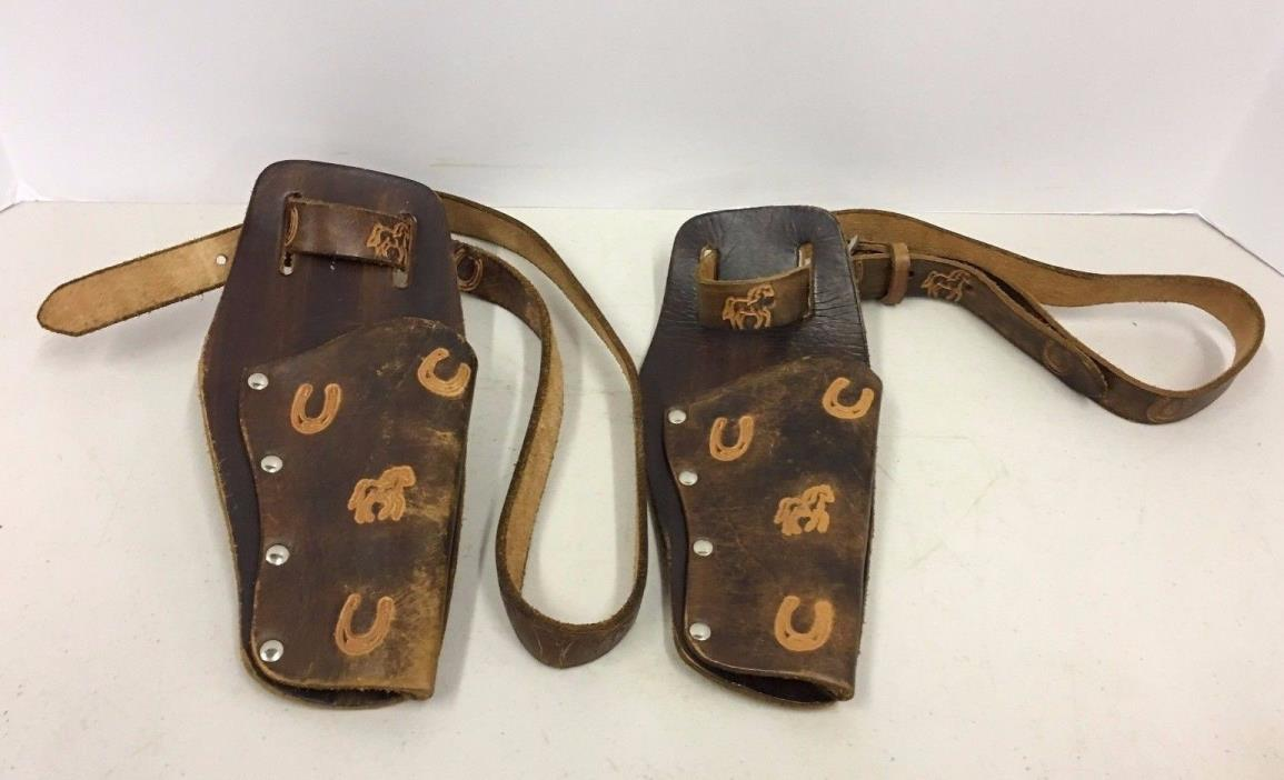 Vintage Antique Dual Toy Cap Holster and Belt Set Hand Tooled Hand Made Leather