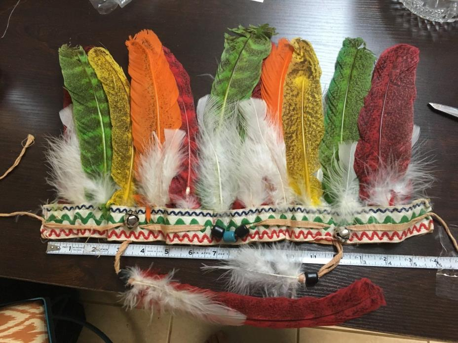 Vintage Kid's Toy Indian Head Dress Feathers