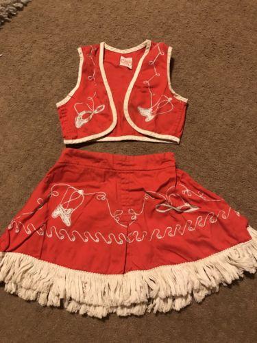 Vintage Childs Western Cowgirl Vest Skirt Tex Sis San Antonio