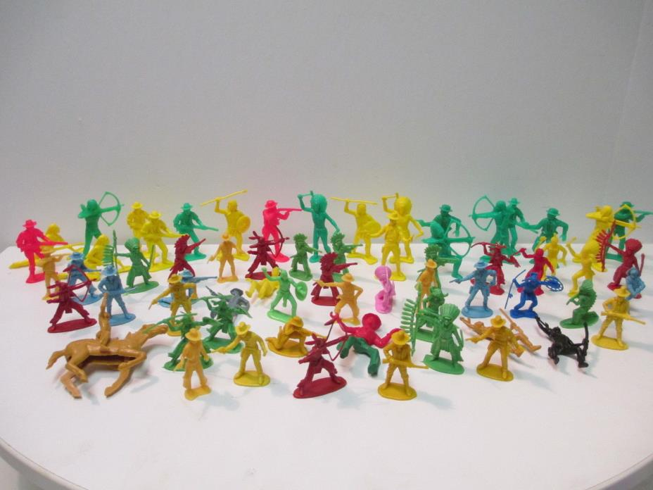 COWBOYS AND INDIANS LOT OF 64 PLASTIC