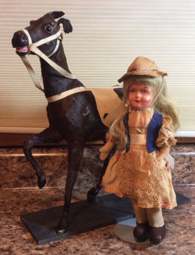 Vintage Horse Real Genuine Hide Fur Skin Composition Doll Western Cowboy Toy