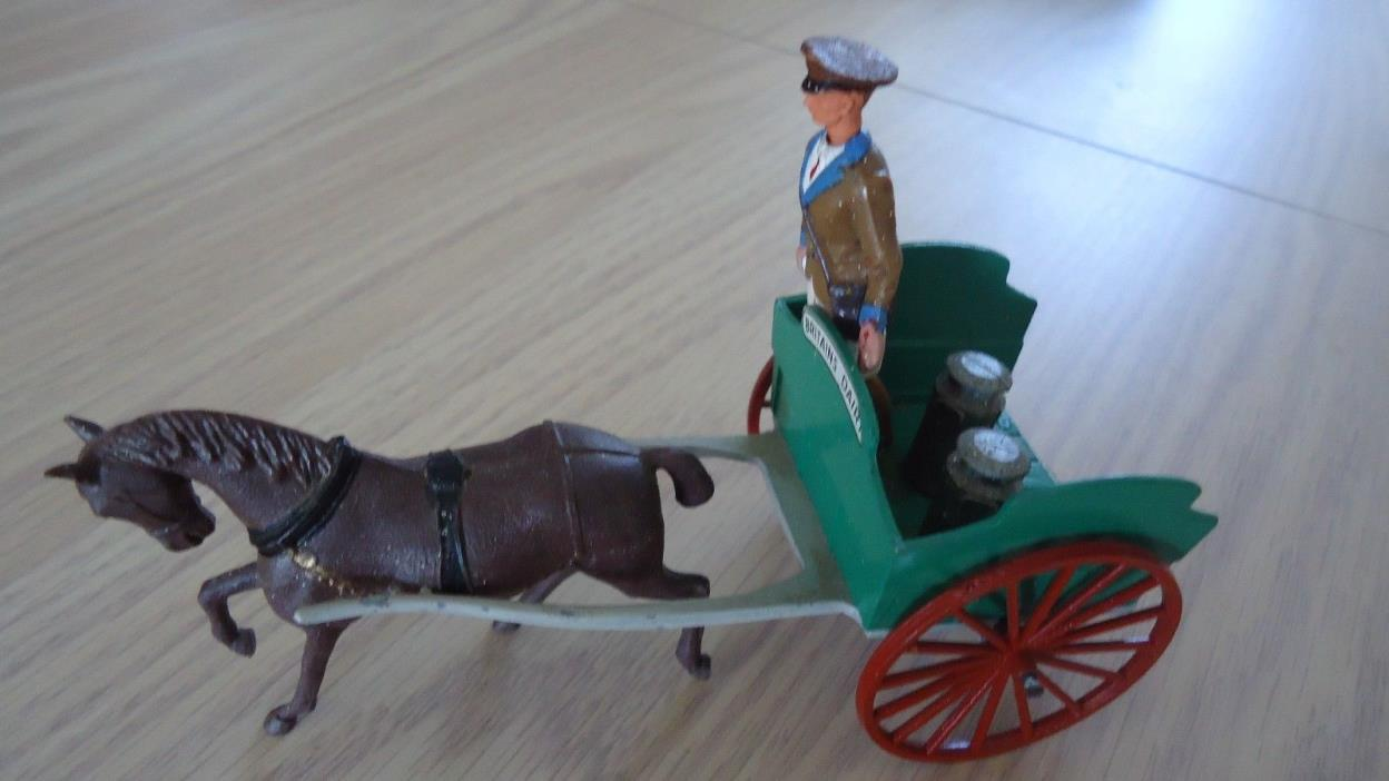 Vintage Britains Ltd Horse Wagon Man And Two Milk Cans  Made in England