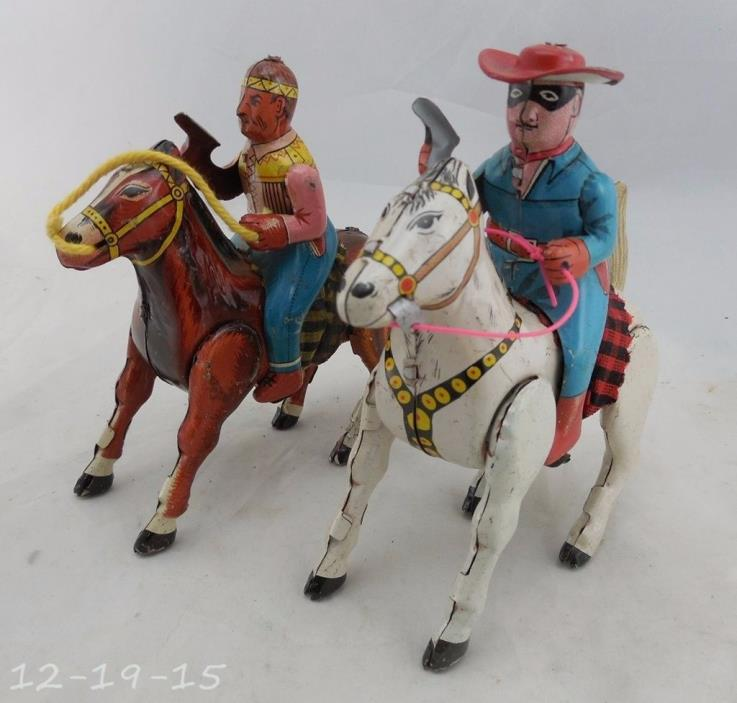 Vintage Tin Japan Lone Ranger on Silver & Tonto on Scout Wind Up Working