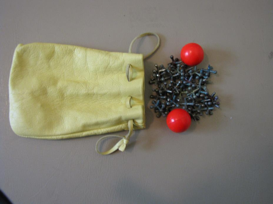 Vintage Metal Jacks With Yellow Leather Pouch Bag