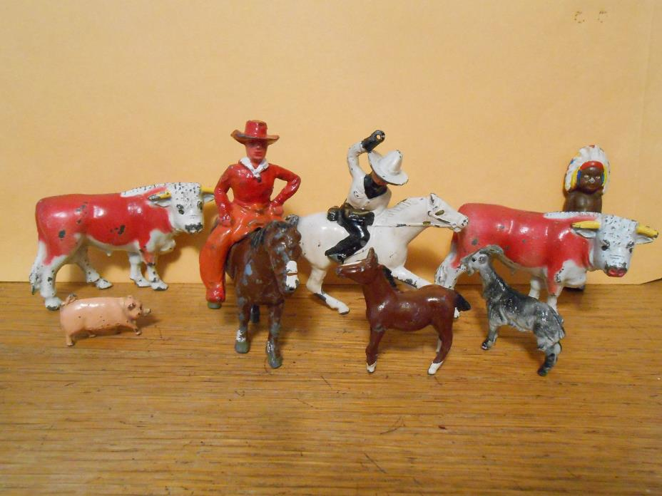 Vtg Metal Lot USA Britains England Cowboy Horse Indian Steer Pig Goat