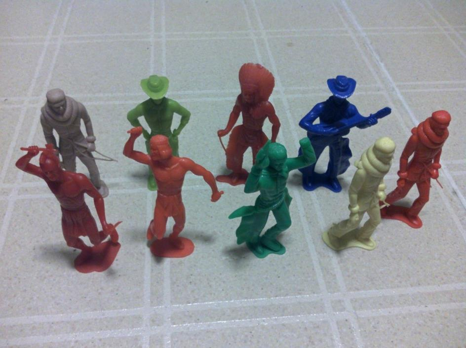 vintage plastic Marx's like cowboys and Indians lot of 9