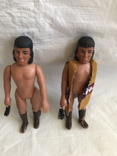 Vintage Durham Inc. 1974 Hong Kong Indian Action Figures with Weapons