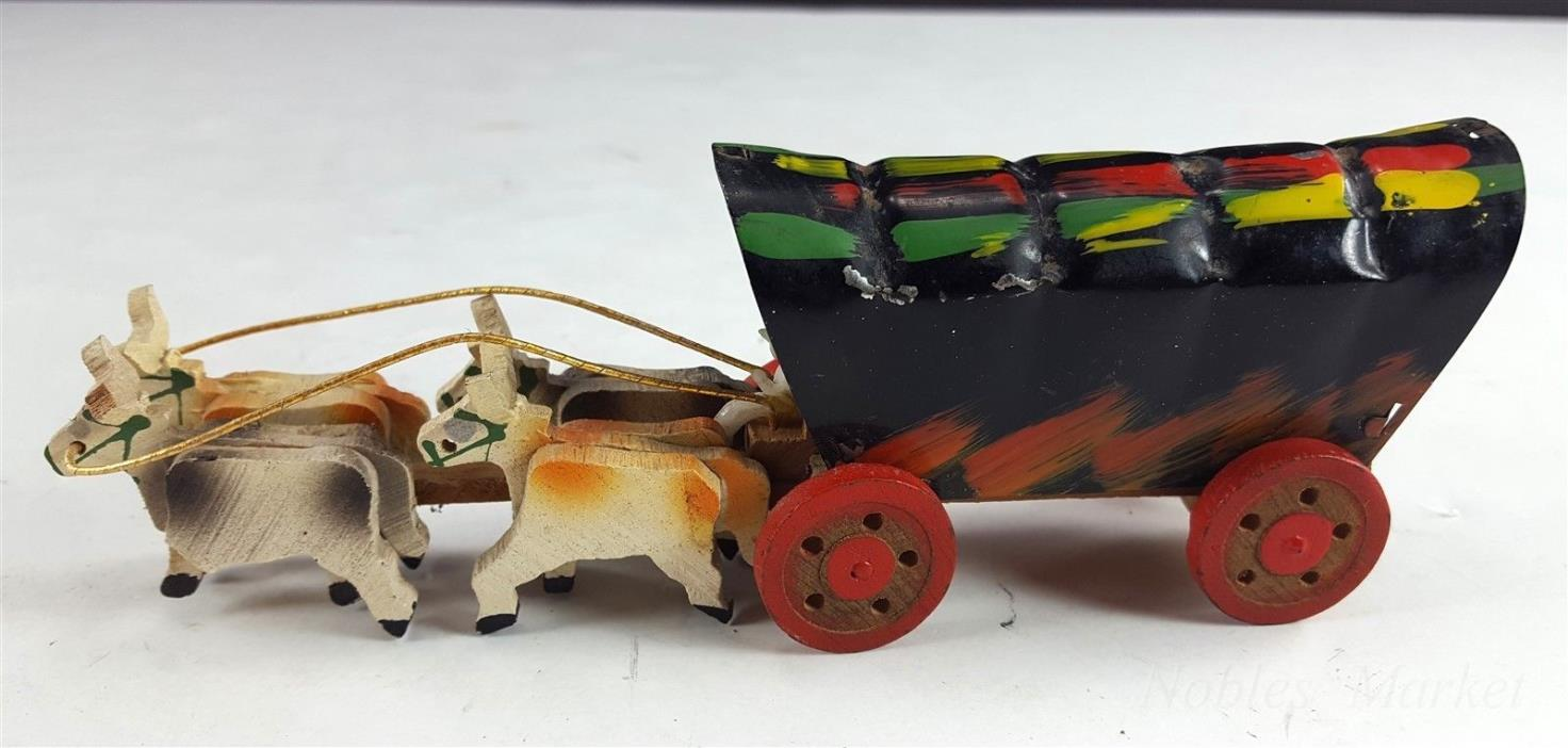 Vintage Tin Covered Wagon, Wood Horse Team, Made in Japan 49er