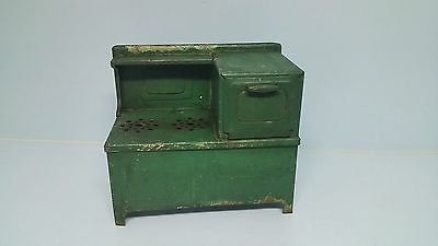 Hoosier Kitchen Stove Oven Pressed Steel Girard Toy Old Doll House Green Vintage