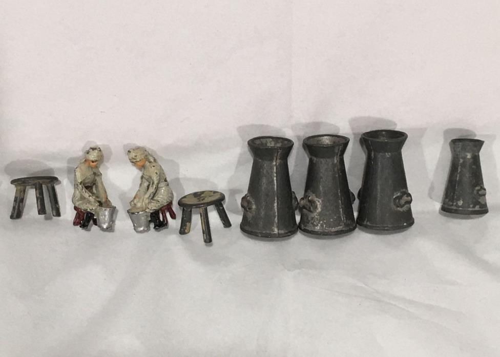 Antique Miniature Toy Lead 2 Milk Maids, 2 Milk Stools, 4 Milk Cans