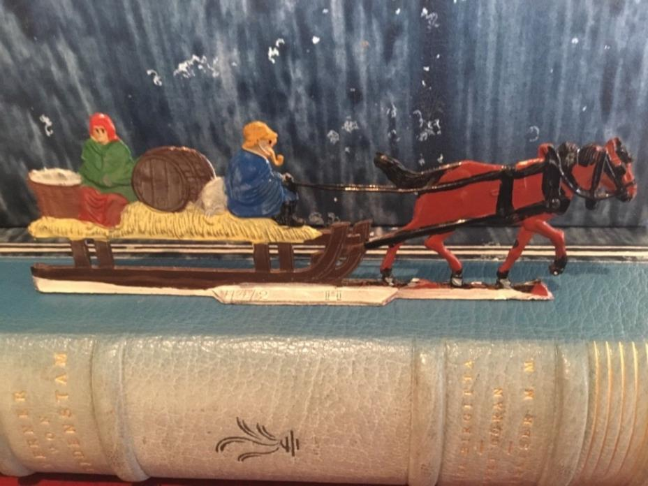 VINTAGE GERMAN HIENRICHSEN MINIATURE LEAD TOY SLEIGH & HORSE RIDE W/ COUPLE