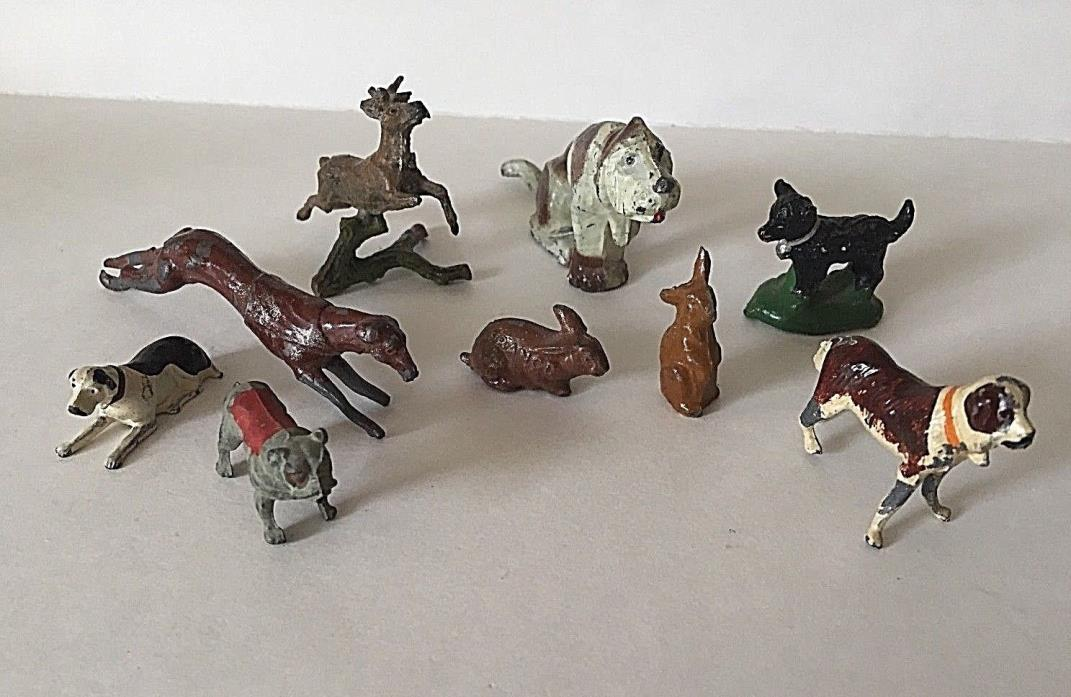 RARE VINTAGE ZOO LEAD FIGURINES various countries- SET OF 9