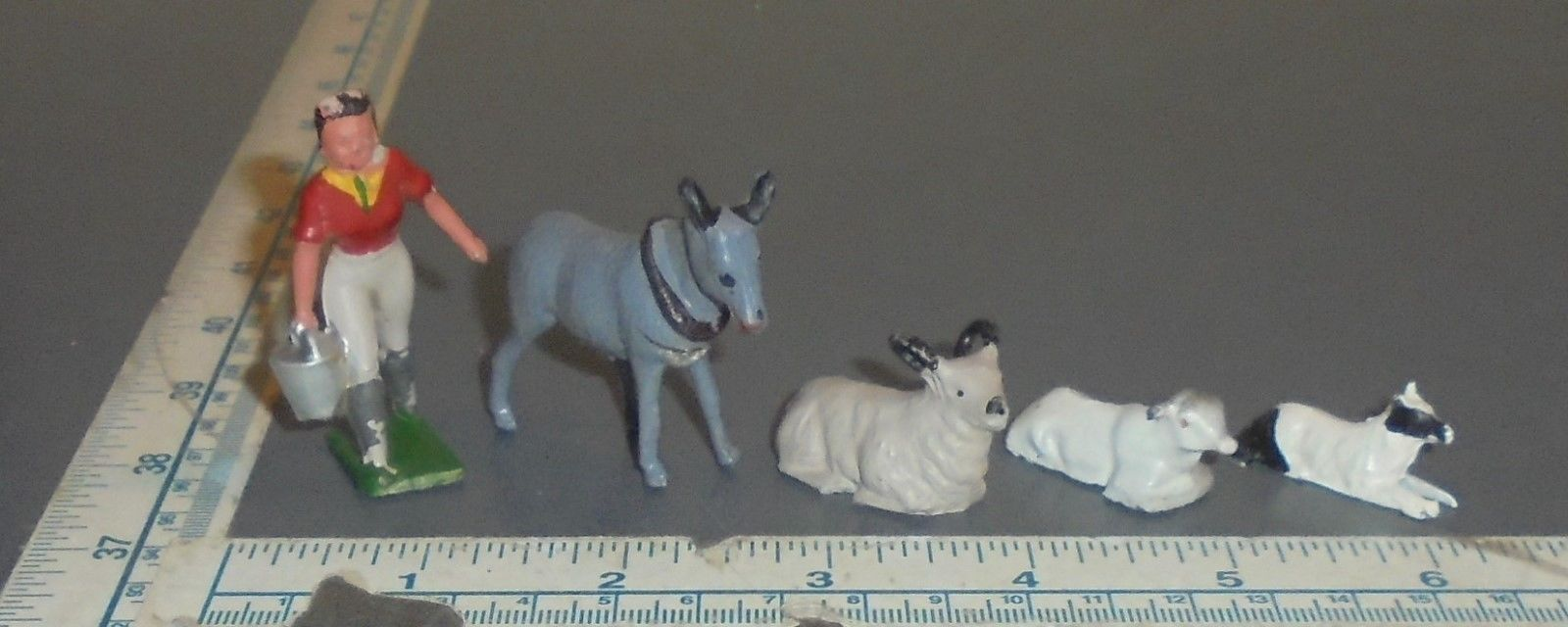 Vintage Lot Lead Farm Figures - Made in England