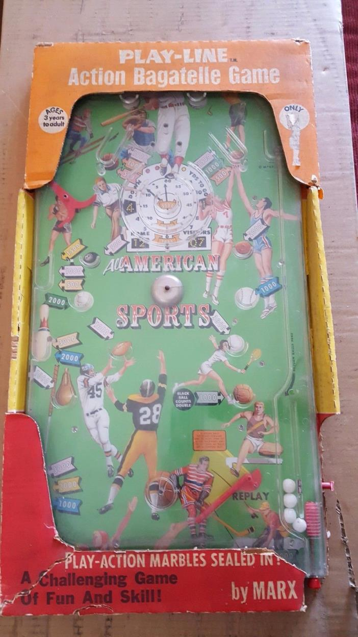 Vintage Marx Toys All American Sports Bagatelle Game In Box