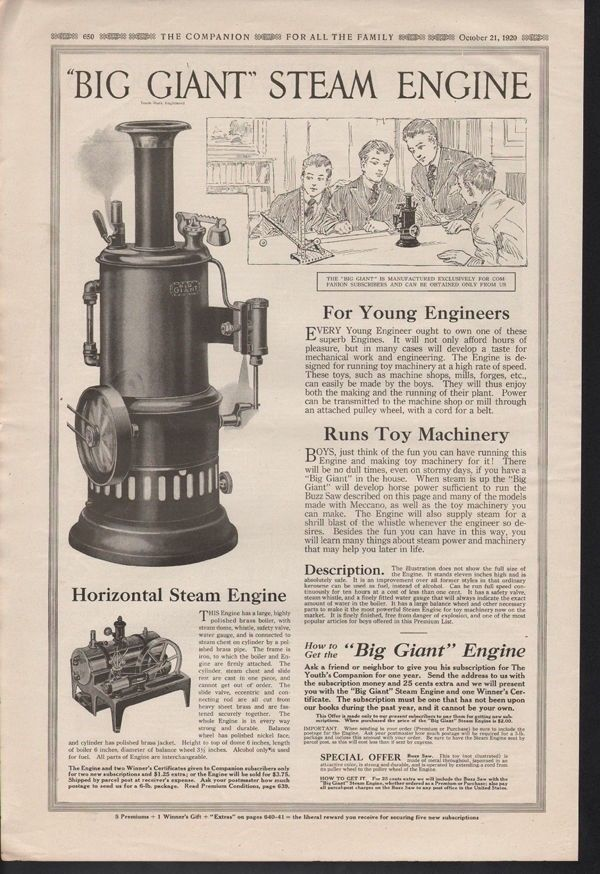 1920 BIG GIANT STEAM ENGINE TOY MACHINE ENGINEER POWER13890