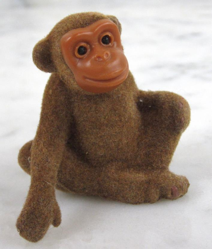 Vintage MONKEY Wagner Handwork Kunstlerschutz Germany Flocked Animal Figure