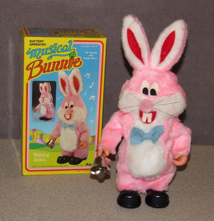 New Old Stock Musical Bunny Bunnie Walking Rings Bell Made in Hong Kong