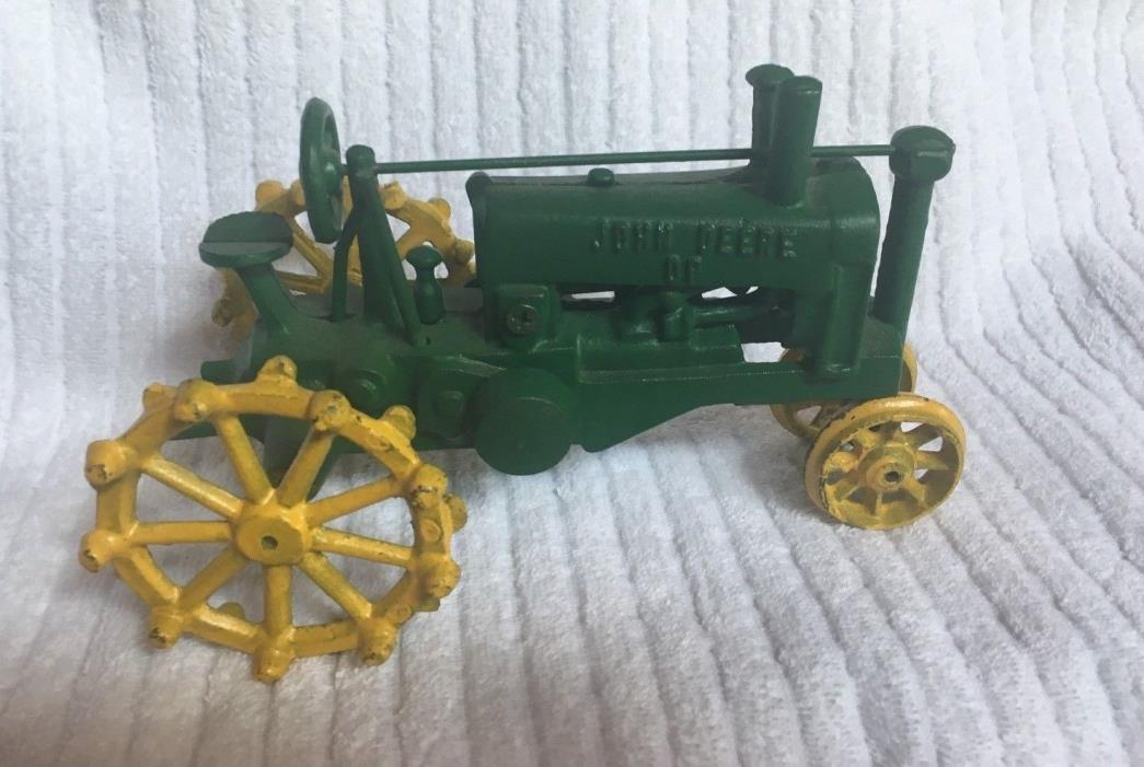 Cast Iron Reproduction John Deere DP Green Farm Tractor Yellow Tires 8