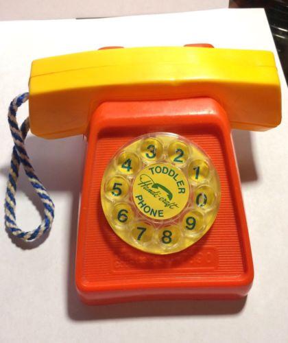 Vintage Handi-Craft Toy Plastic Toddler Phone Orange Version RARE HTF