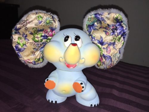 Rare Vintage Ninohira Japan Blue Rubber Elephant with Fabric Fuzzy Ears!