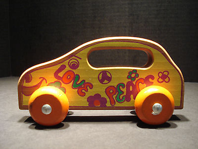Vintage Holgate Wooden Car Love / Peace