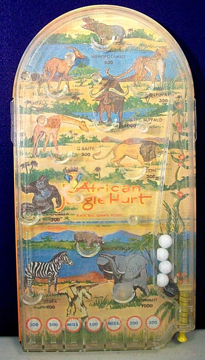 AFRICAN JUNGLE HUNT PINBALL GAME WOLVERINE TOY VINTAGE '50s-'60s USA TIN LITHO