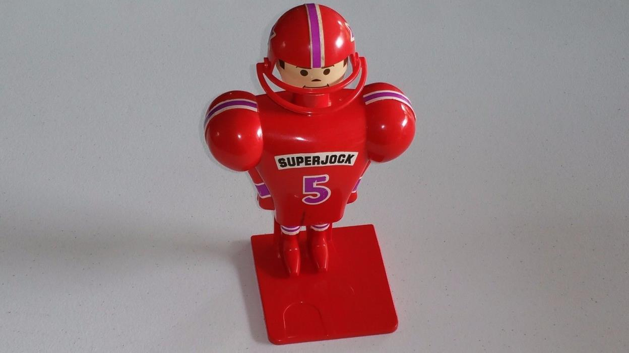 SUPERJOCK Vintage 1975 Schaper Football Kick-Action Toy Red Uniform RARE!
