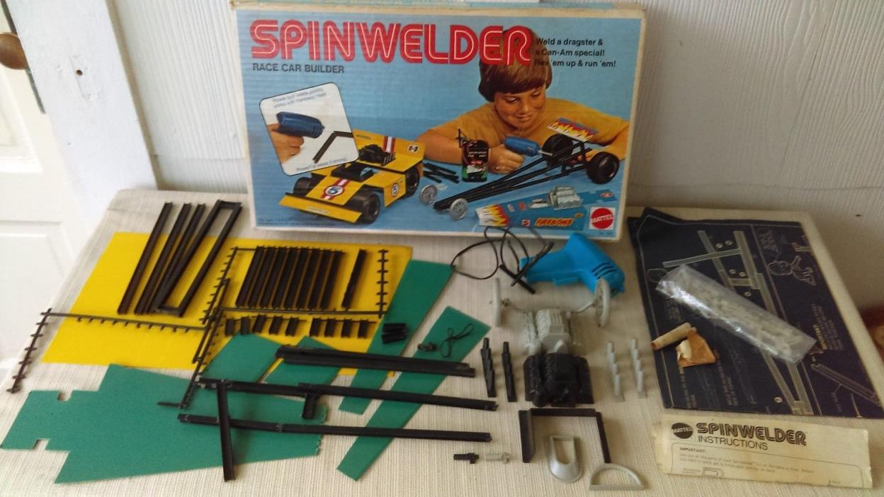 Vintage Mattel Spinwelder Race Car Builder Near Complete Mostly Unused Box Set