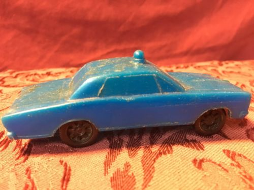 1950's Vintage Gay Toys Blue Plastic Police Car Toy Removable Wheels SHIPS NOW!