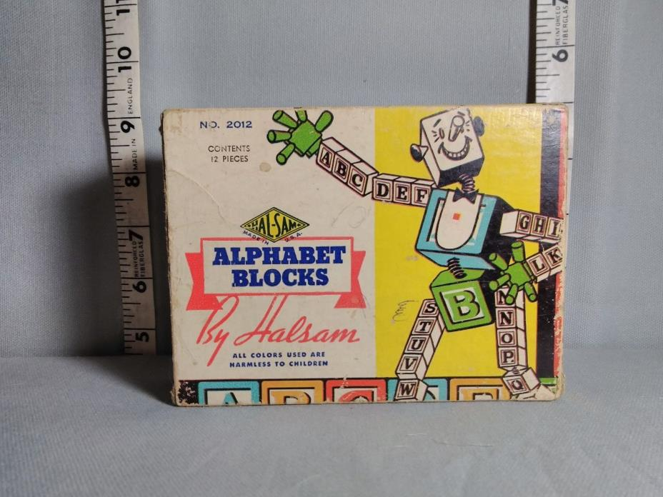 Vintage Alphabet Blocks by Halsam/Original Box