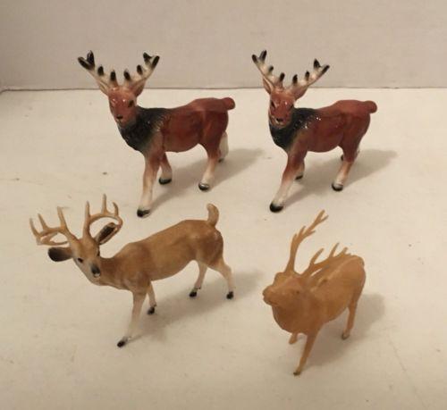 Vintage Lot of Four Animals Deer Elk Reindeer Ceramic Plastic Toys Christmas