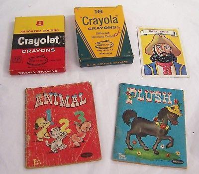 1949 PLUSH Pony,Animals 123 Tiny Tales,Capt. Kid Who Am I? card,Crayola,Crayolet