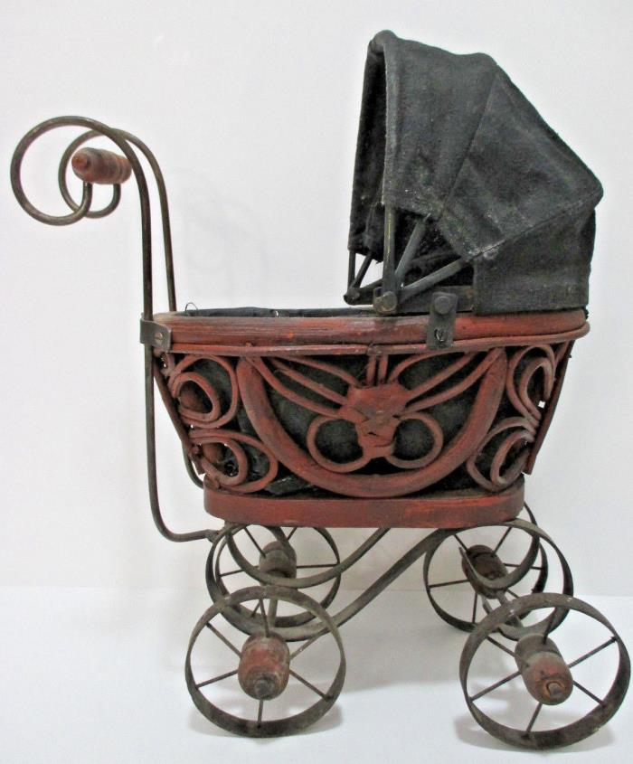 Antique Cast Iron & Wood Wicker Victorian Baby Doll Toy Buggy Stroller Carriage