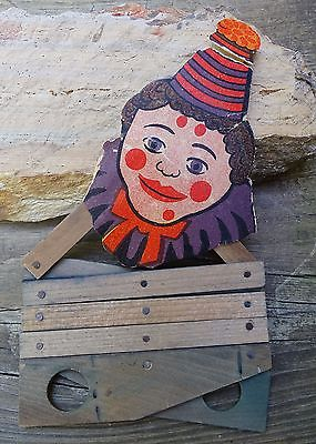RARE ORIGINAL 1950s MADE IN JAPAN EXPANDING TOY WITH VINTAGE CLOWN ON TOP SCARCE