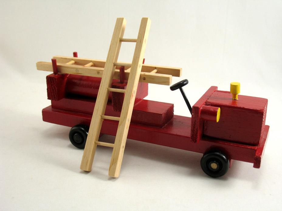 Handmade Wood Fire Truck and Ladders 9 1/2