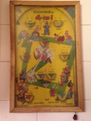 Vintage 1930's POOSH-M-UP Jr. Table Top Pinball Type Arcade Game In Wooden Frame