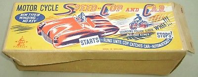 1950's Plastic Bell Product Motorcycle Speed Cop & Car Pull Wind-up Toy Boxed