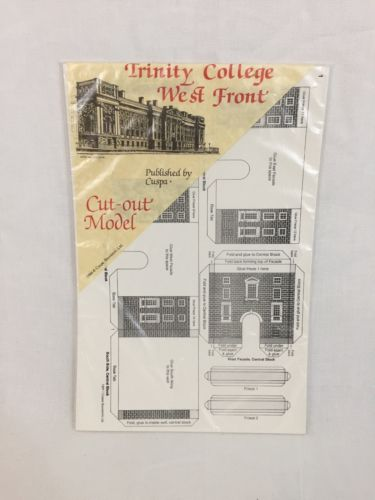 Vintage Miniature Paper Houses Trinity College West Front Model Cut Out Ireland