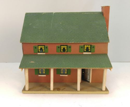 Vintage wooden toy house, Green Roof, Brick, Chimney, Paper over Pressed Board?