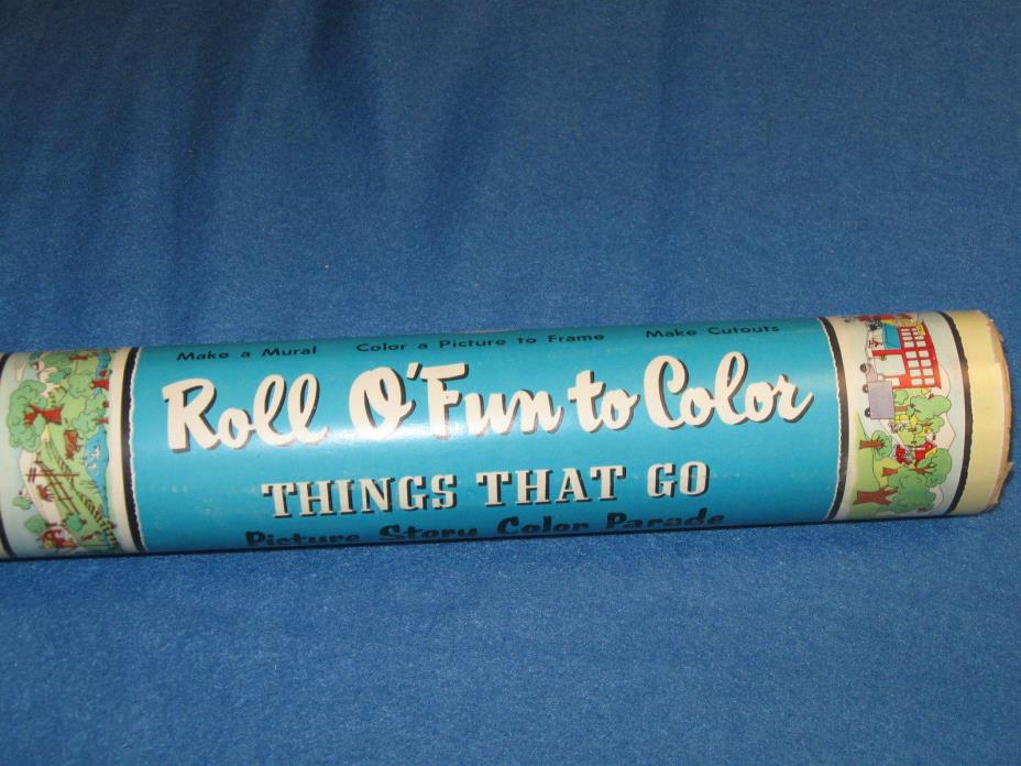 Vintage 1958 Whitman Roll O'Fun to Color, THINGS THAT GO, Picures, Child Room