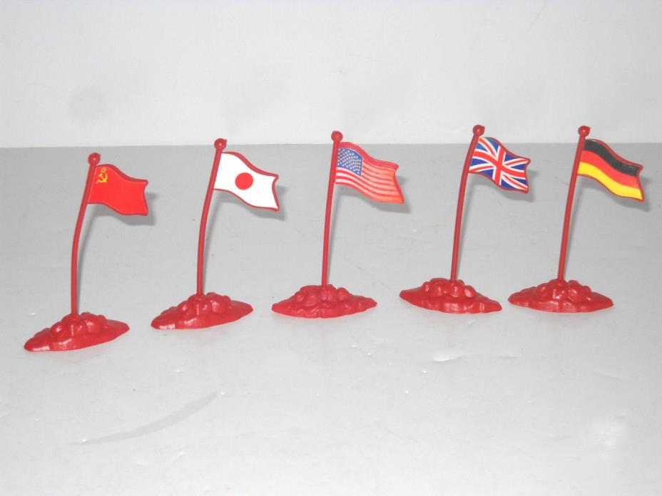 5 Play Set Plastic Flags With Bases American Japan BritIsh German Russian