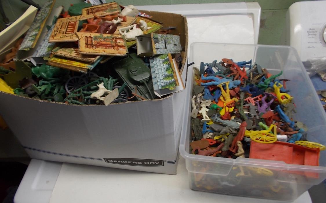 0ver 22 pounds of PLAYSET FIGURES SOLDIERS marx mpc ideal timmee 50's 60's
