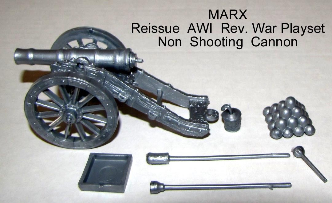 Marx reissue AWI Rev War silver cannon + some accessories