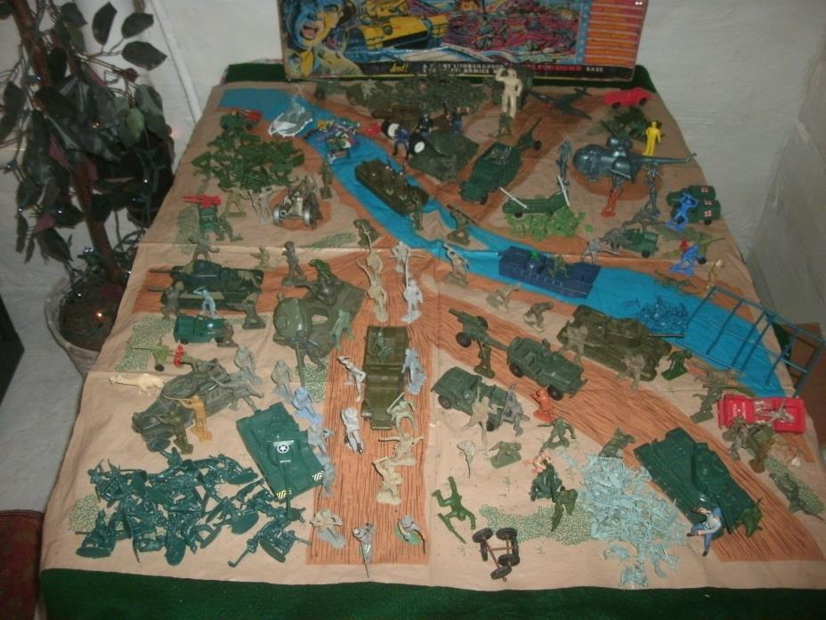 VINTAGE: MARX, Task Force Battleground Playset, as-is, GREAT add-on items 54mm