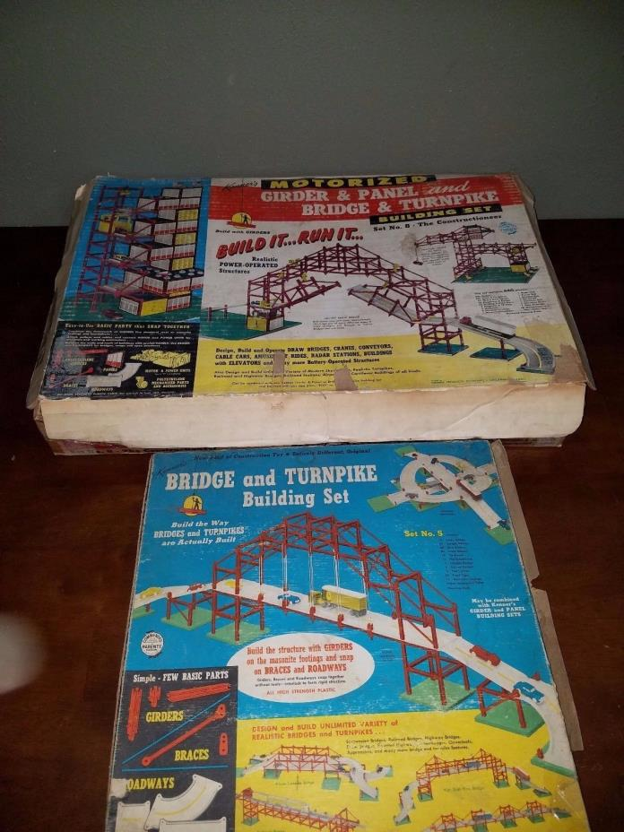 Kenner Motorized Girder & Panel and Bridge & Turnpike Building Set No. 5 and 8