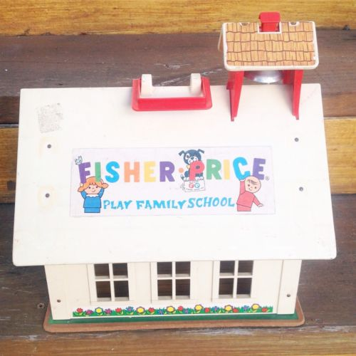 Vtg Fisher Price Little People Schoolhouse School House Teacher Building 70s 80s