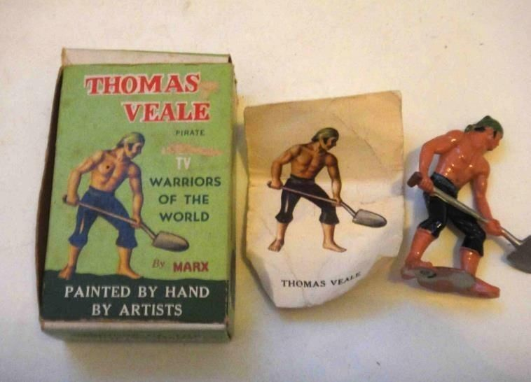 vintage WARRIORS OF THE WORLD marx toy THOMAS VEALE PIRATE w/BOX+ CARD