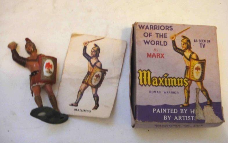 vintage WARRIORS OF THE WORLD marx toy MAXIMUS ROMAN WARRIOR w/BOX+ CARD