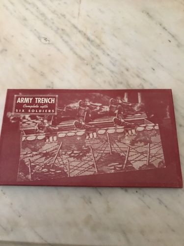 VTG 1940 UNOPENED CARDBOARD WARREN BUILT RITE TOY ARMY TRENCH, 6 SOLDIERS NIB