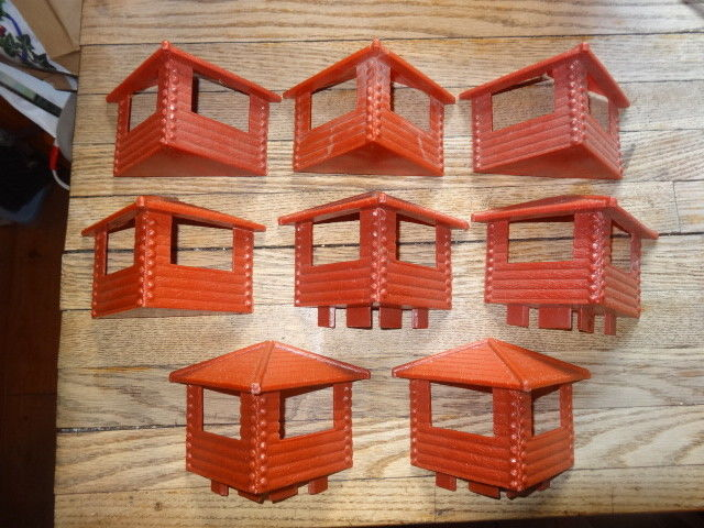 Marx Fort Apache corner outposts lot 8 red brown pieces
